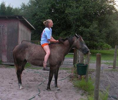 Makenzie and Babygirl, who doesn't need a bridle
